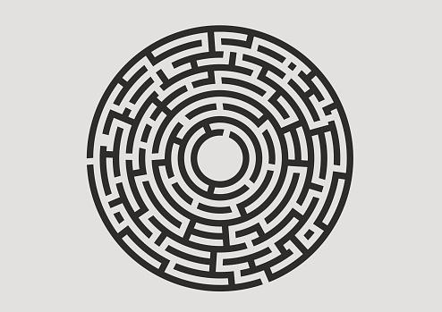 Black labyrinth logo on white background