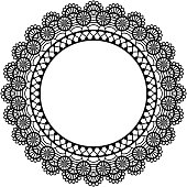 Beautiful vintage style black lace doily frame with copy space isolated on white background