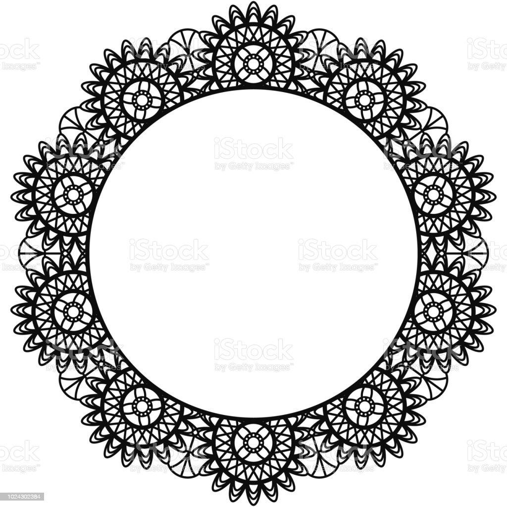 Black Lace Doily Frame vector art illustration