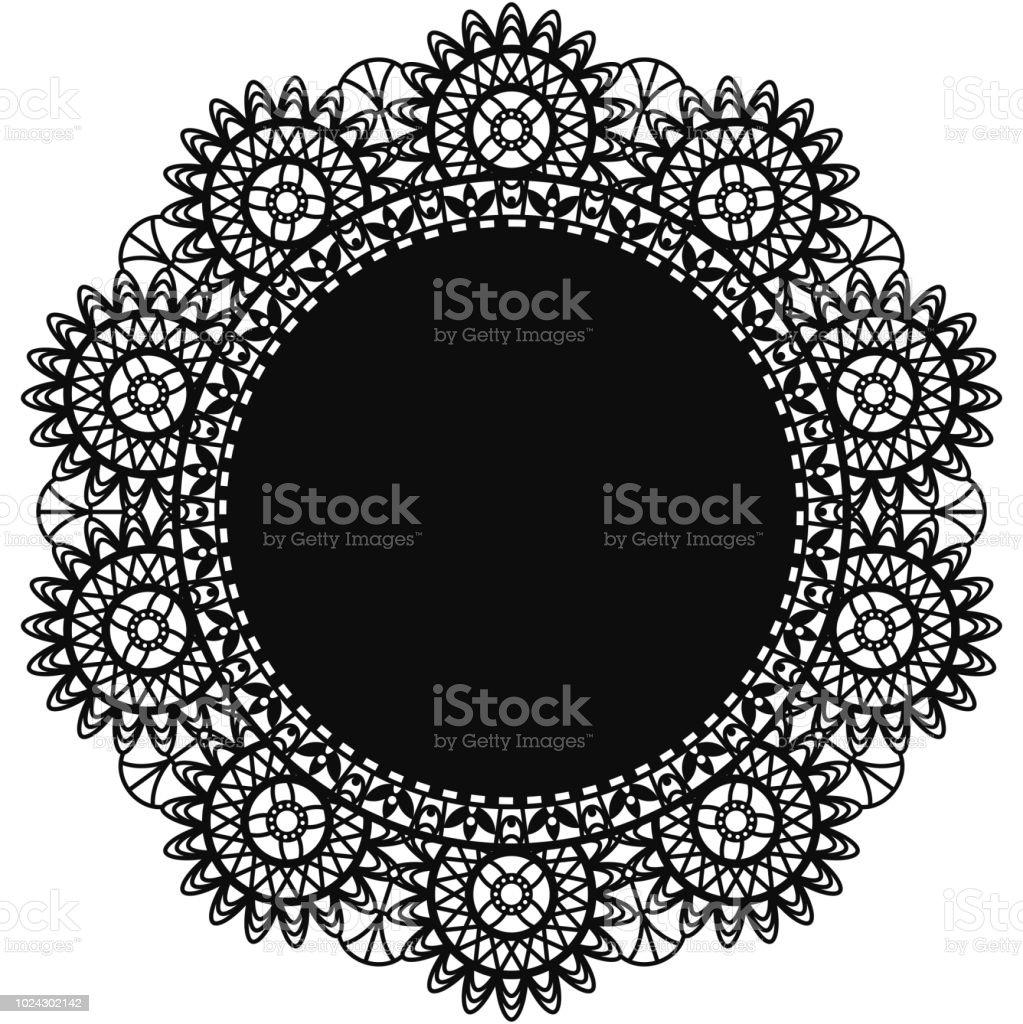 Black Lace Doily vector art illustration