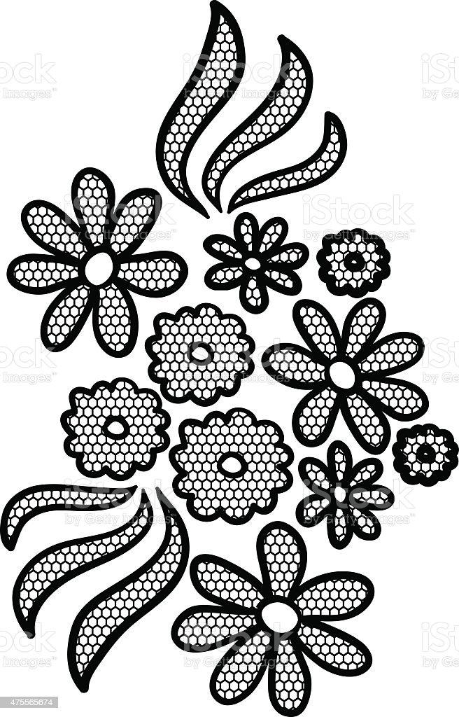 Black lace flower applique vector art illustration