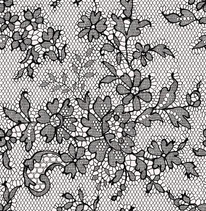 Black lace. Seamless Pattern. Floral Pattern.