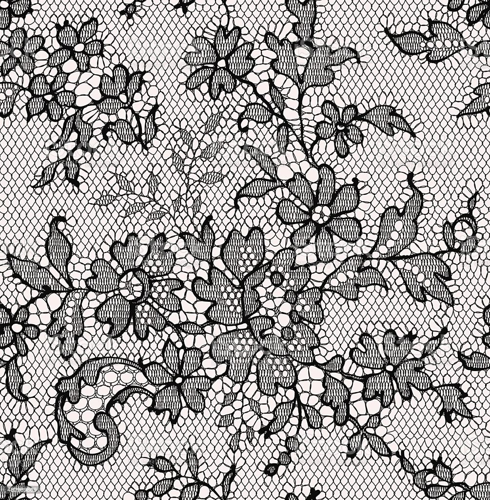 Black lace. Seamless Pattern. Floral Pattern. vector art illustration