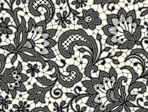 Black lace Seamless Pattern Black lace Seamless Pattern lace textile stock illustrations