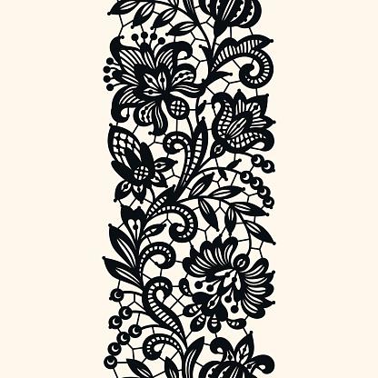 Black Lace. Seamless Pattern.