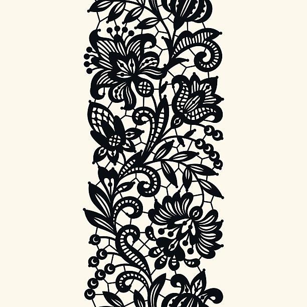 Black Lace. Seamless Pattern. Black Lace. Seamless Pattern. lace textile stock illustrations