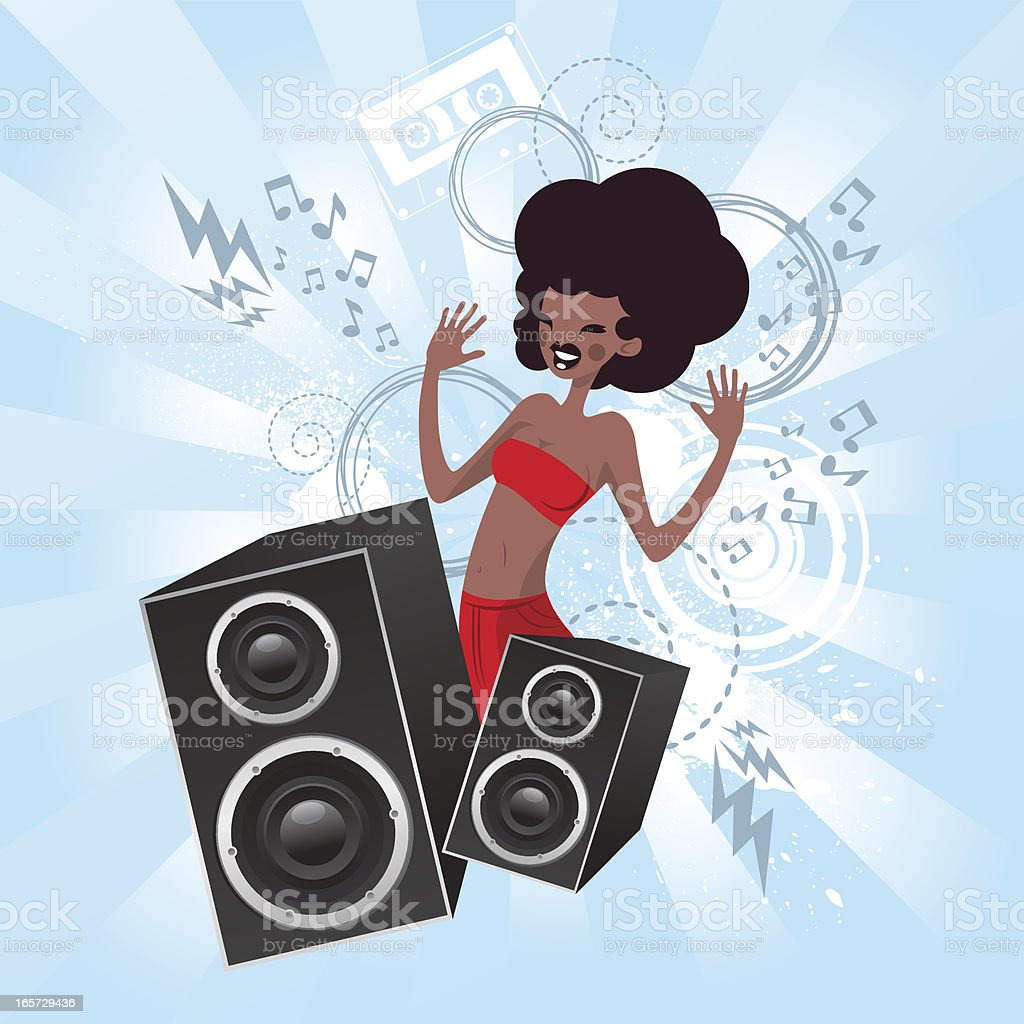Black lady with speakers royalty-free stock vector art