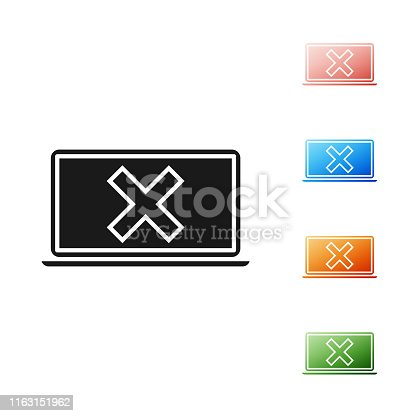 istock Black Laptop and cross mark on screen icon isolated on white background. Error window, exit button, cancel, 404 error page not found concept. Set icons colorful. Vector Illustration 1163151962