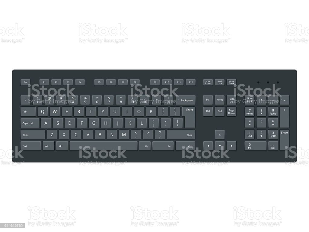 Black laptop, computer keyboard vector template isolated on white background