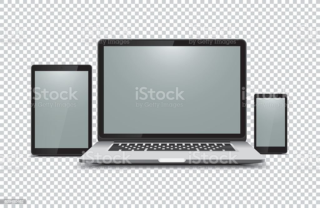 Black laptop, tablet, phone on transparent background vector art illustration