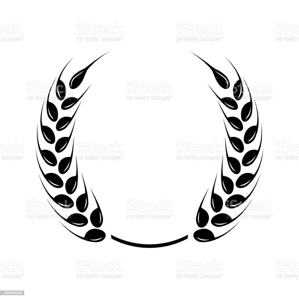 Black laurel wreath a symbol of the winner wheat ears icon stock black laurel wreath a symbol of the winner wheat ears icon royalty biocorpaavc Image collections