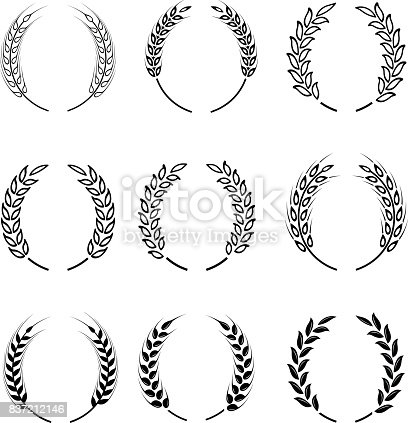 Black laurel wreath - a symbol of the winner. Wheat ears or rice icons set. Agricultural symbols isolated on white background. Design elements for bread packaging or beer label. Vector icon set.