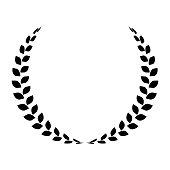 Black laurel wreath. Simple flat vector icon.