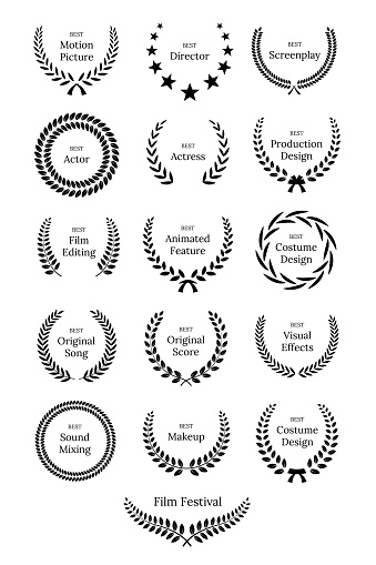 Black laurel wreaths with Film Awards design elements. Premium insignia, traditional victory symbol on white background. Triumph, win poster, banner layout with award ribbons. Frame, border template.