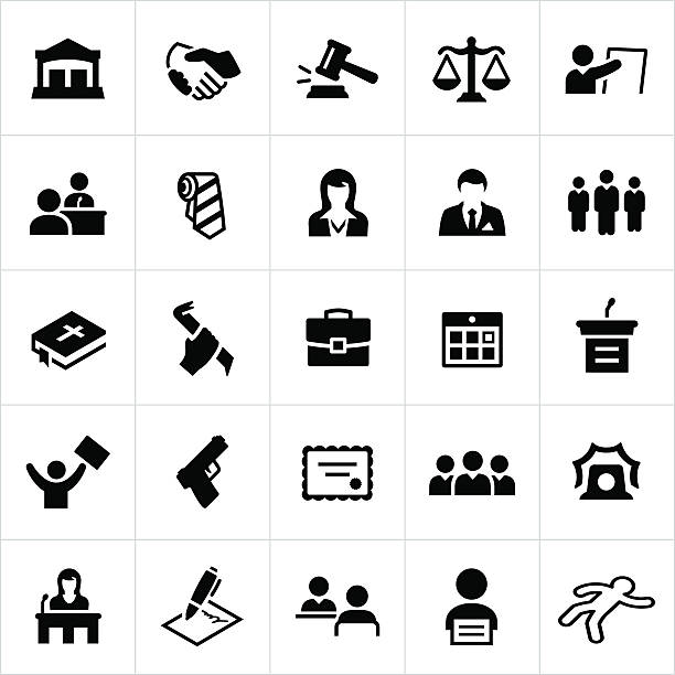 Black Law, Crime and Justice Icons Law, crime, justice, law enforcement, police, icons, symbols. All strokes/shapes expanded and merged. crime scene stock illustrations