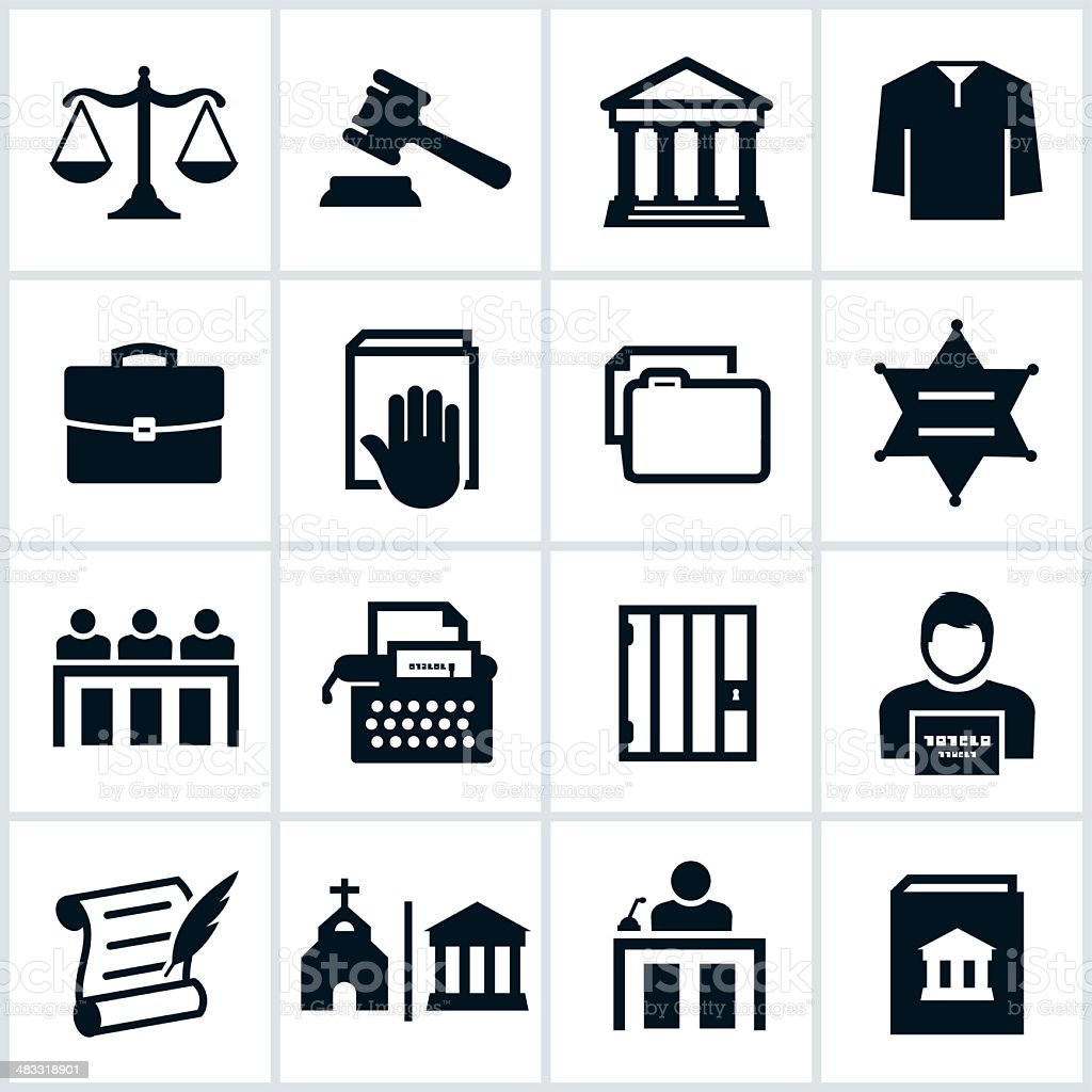 Black Law Icons royalty-free stock vector art