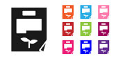 Black Leaf document icon isolated on white background. Nature file icon. Set icons colorful. Vector Illustration