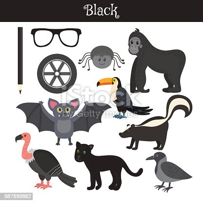 istock Black. Learn the color. Education set 587899862
