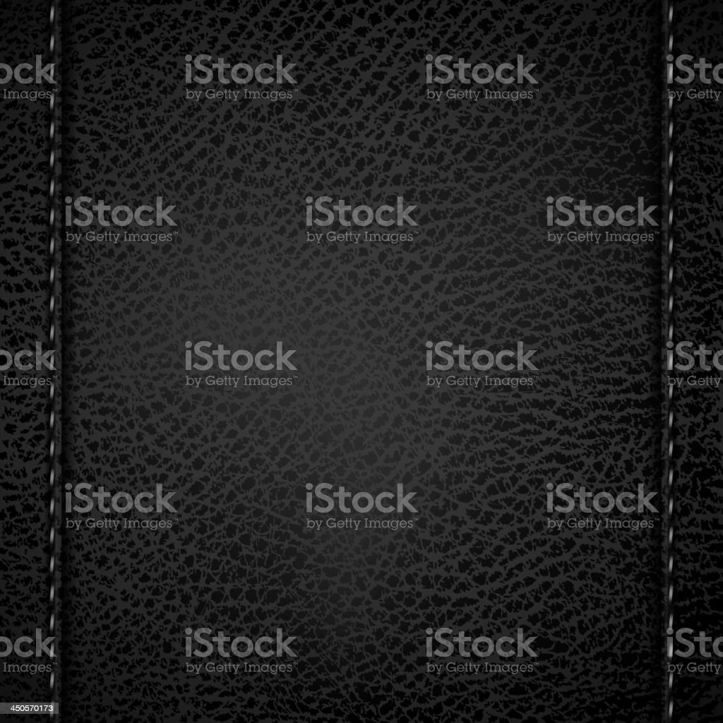 Black leather background with sewn seams on both sides vector art illustration