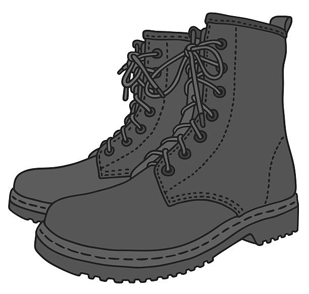 Black leather boots vector art illustration