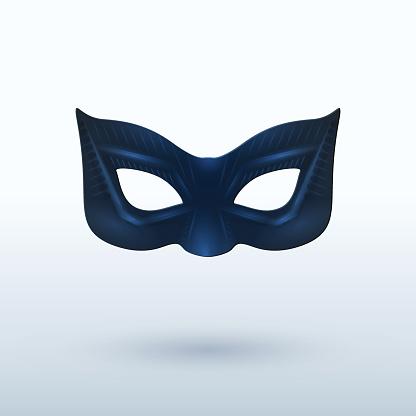Black leather superhero mask on background