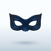 Black leather superhero mask on background