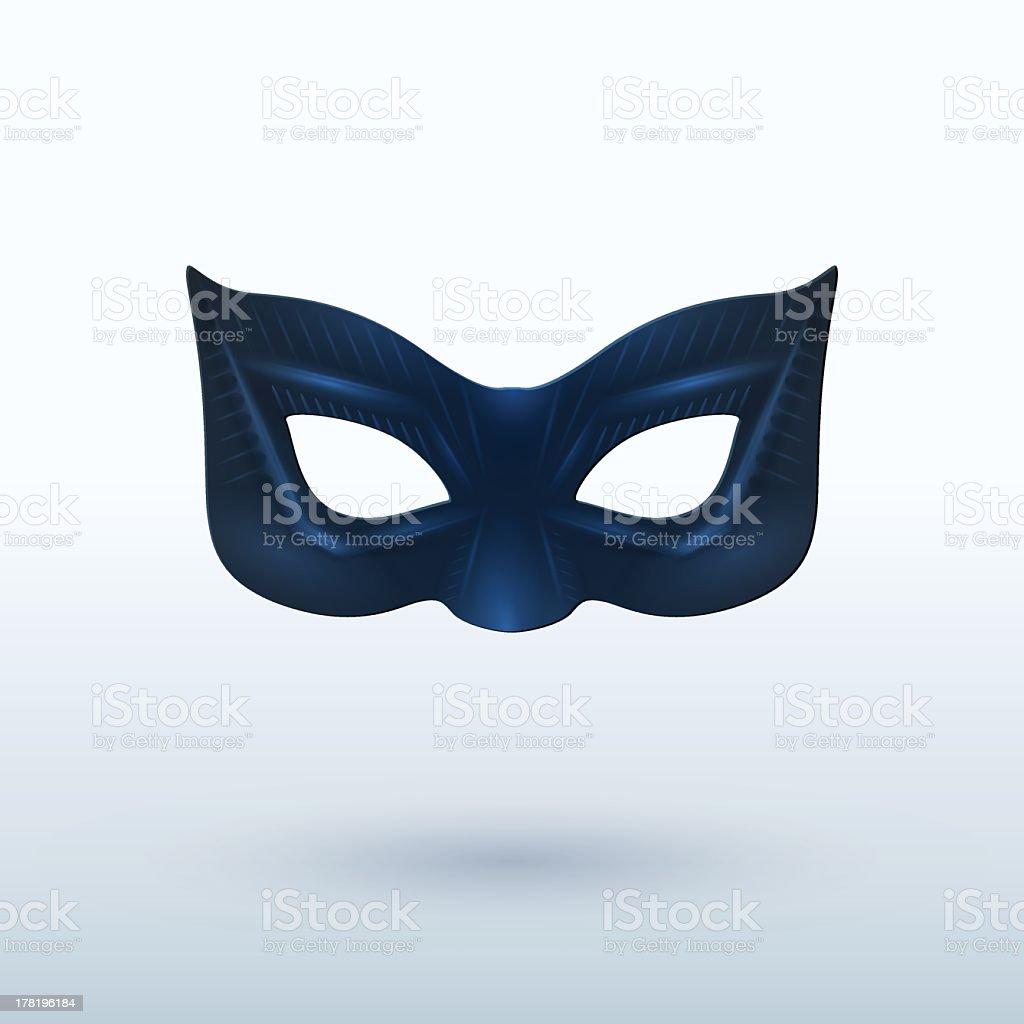 Black leather superhero mask on background vector art illustration