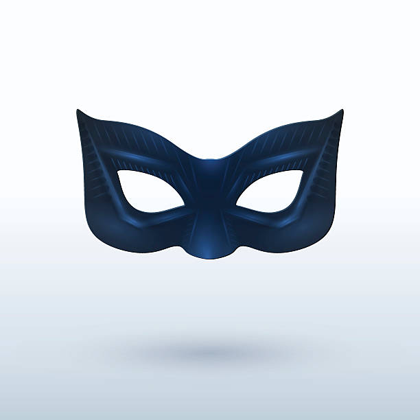 black leather superhero mask on background - mask stock illustrations