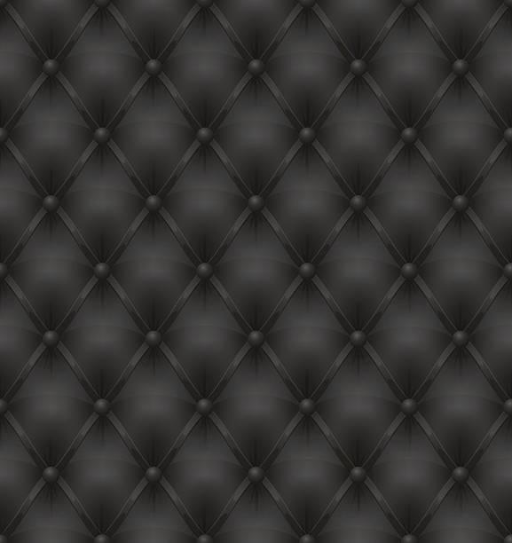schwarzes leder polster nahtlose hintergrund - lederverarbeitung stock-grafiken, -clipart, -cartoons und -symbole