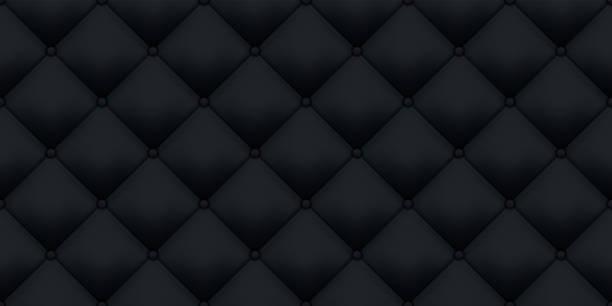 schwarzer lederpolster vintage-luxus-textur hintergrund. vector royal sofa lederpolster mit knöpfen nahtlosen muster - plüschmuster stock-grafiken, -clipart, -cartoons und -symbole