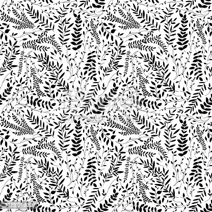 Black leaves and branches seamless pattern. Botanical silhouettes. Monochrome decorative template texture with black leaves on the white background. Seamless stylized branches pattern.