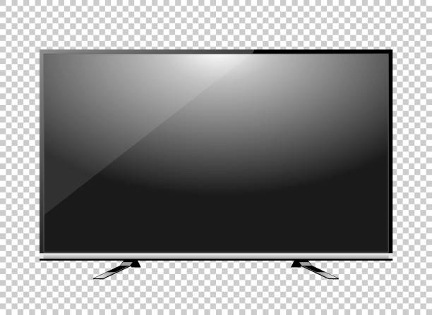 Black LED tv television screen blank on background Black LED tv television screen blank on background liquid crystal display stock illustrations