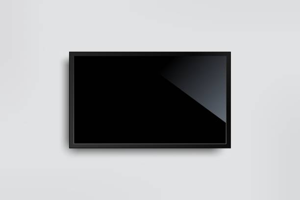 Black LED tv television screen blank on white wall background Black LED tv television screen blank on white wall background liquid crystal display stock illustrations