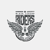 Black Legend Riders typographic design for t-shirt print. Global flat colors. Layered vector illustration.