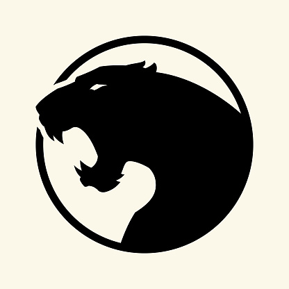 Black leopard, panther head - vector cut out silhouette in circle