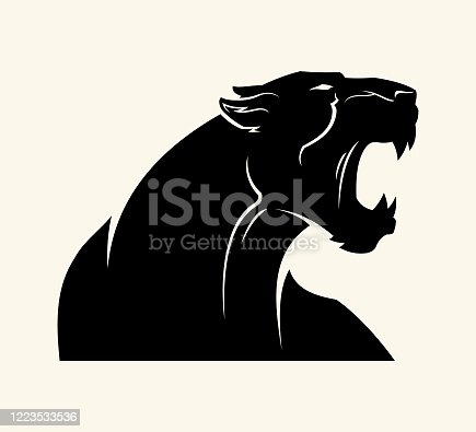 Angry leopard, panther, or jaguar with open mouth - cut out vector silhouette of wild cat