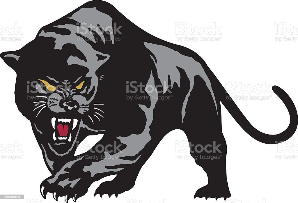 Black Leopard vector art illustration