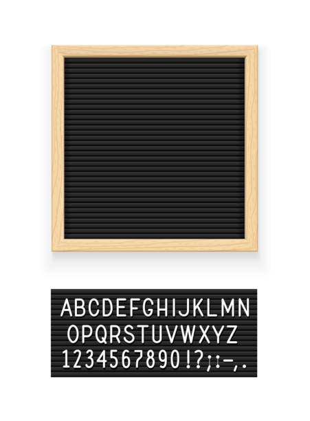 Black letter board Black letter board. Letterboard for note. Plate for message. Office stationery. Isolated white background. EPS10 vector illustration. message stock illustrations
