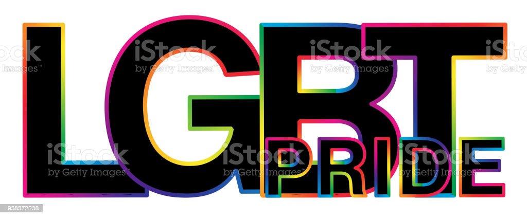 negro palabra de orgullo LGBT con el movimiento de colores - ilustración de arte vectorial