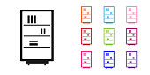 Black Library bookshelf icon isolated on white background. Set icons colorful. Vector Illustration