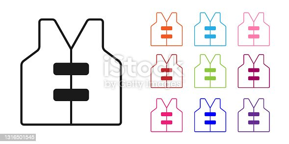 istock Black Life jacket icon isolated on white background. Life vest icon. Extreme sport. Sport equipment. Set icons colorful. Vector 1316501545
