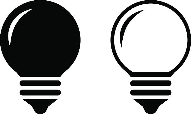 Black Lightbulb Icons Vector Art Illustration
