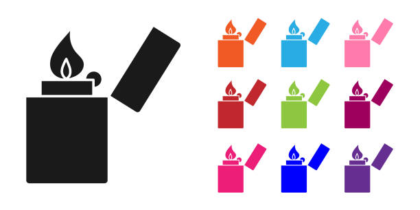 ilustrações de stock, clip art, desenhos animados e ícones de black lighter icon isolated on white background. set icons colorful. vector illustration - inflamável