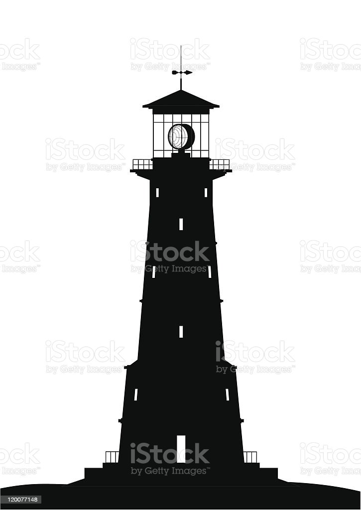 Black lighthouse silhouette on white background royalty-free stock vector art