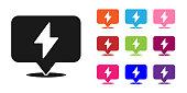 Black Lightning bolt icon isolated on white background. Flash icon. Charge flash icon. Thunder bolt. Lighting strike. Set icons colorful. Vector Illustration