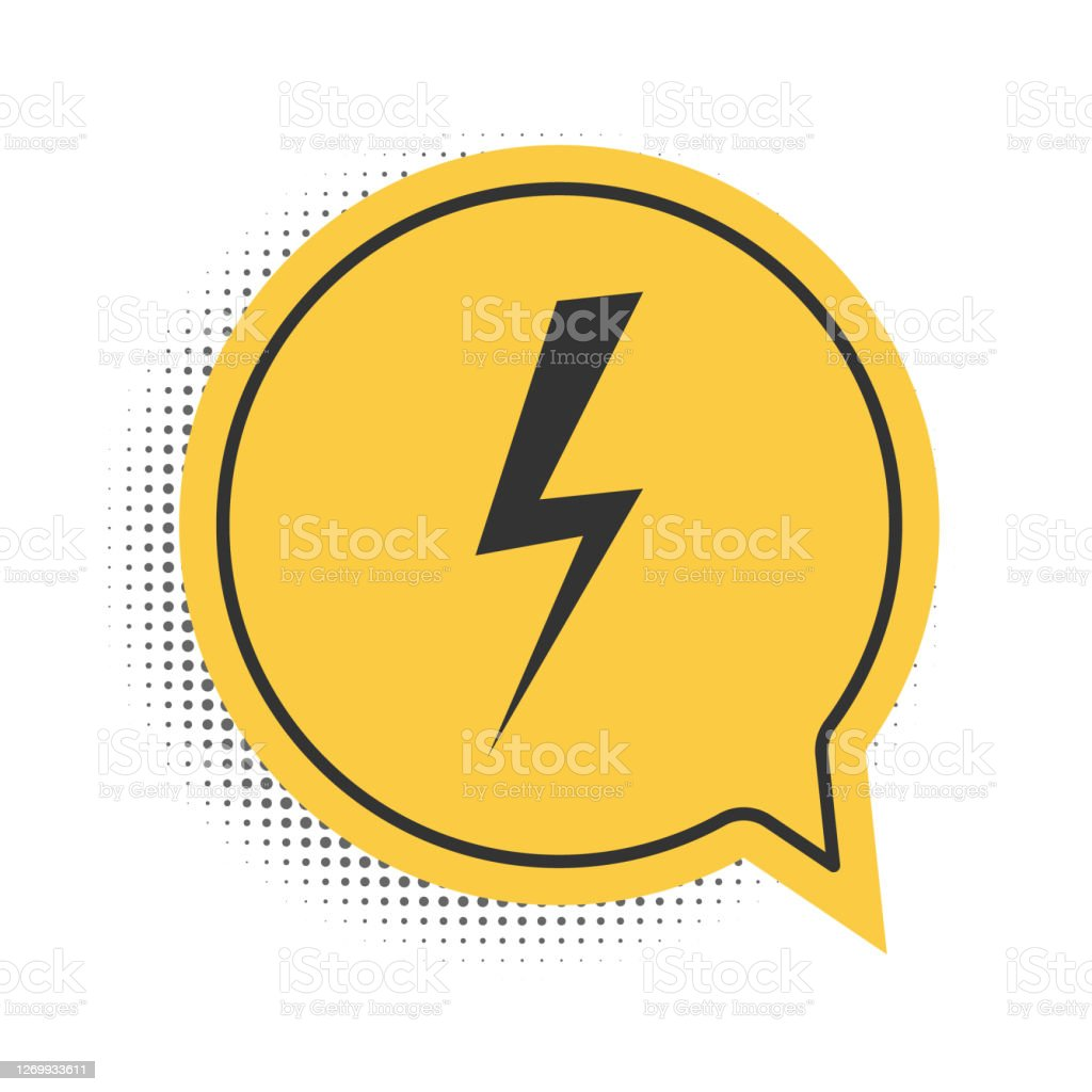 Black Lightning Bolt Icon Isolated On White Background Flash Icon Charge Flash Icon Thunder Bolt Lighting Strike Yellow Speech Bubble Symbol Vector Stock Illustration Download Image Now Istock