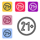 Black line 21 plus icon isolated on white background. Adults content icon. Set icons in color square buttons. Vector Illustration