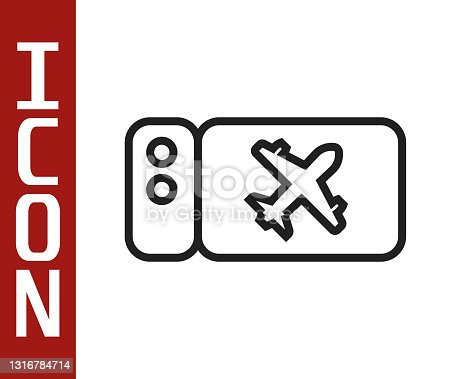istock Black line Airline ticket icon isolated on white background. Plane ticket. Vector 1316784714