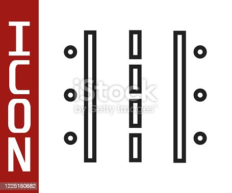 istock Black line Airport runway for taking off and landing aircrafts icon isolated on white background. Vector Illustration 1225160682