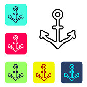 Black line Anchor icon isolated on white background. Set icons in color square buttons. Vector.